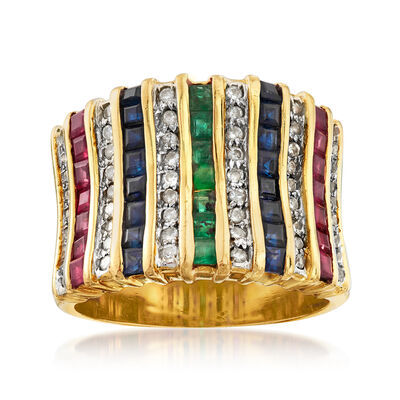 C. 1980 Vintage 3.55 ct. t.w. Multi-Gem and .75 ct. t.w. Diamond Ring in 18kt Yellow Gold, , default