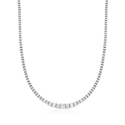C. 1990 Vintage 10.00 ct. t.w. Diamond Tennis Necklace in Platinum