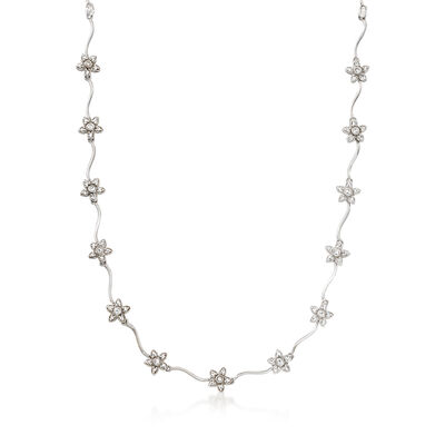 C. 1990 Vintage 1.05 ct. t.w. Diamond Flower Station Necklace in 18kt White Gold
