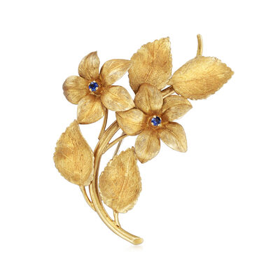 C. 1970 Vintage .10 ct. t.w. Sapphire Flower Pin in 18kt Yellow Gold, , default