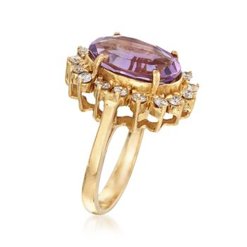 C. 1990 Vintage 6.30 Carat Amethyst and .65 ct. t.w. Diamond Ring in 18kt Yellow Gold. Size 7.5, , default
