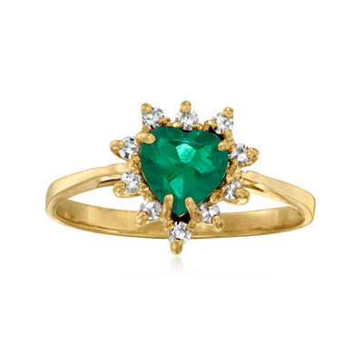 C. 1990 Vintage .50 Carat Synthetic Emerald and .15 ct. t.w. Diamond Heart Ring in 14kt Yellow Gold
