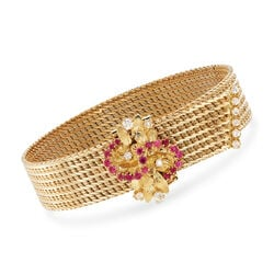 C. 1980 Vintage .50 ct. t.w. Ruby and .45 ct. t.w. Diamond Cluster Mesh Bracelet in 18kt Yellow Gold, , default