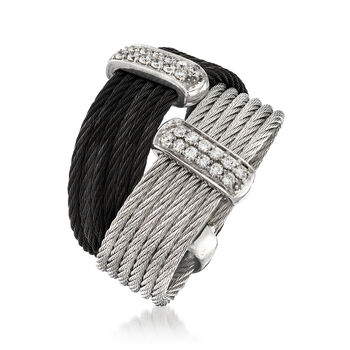"ALOR ""Noir"" Collection .20 ct. t.w. Diamond Two-Tone Stainless Steel Cable Ring in 18kt White Gold. Size 7, , default"
