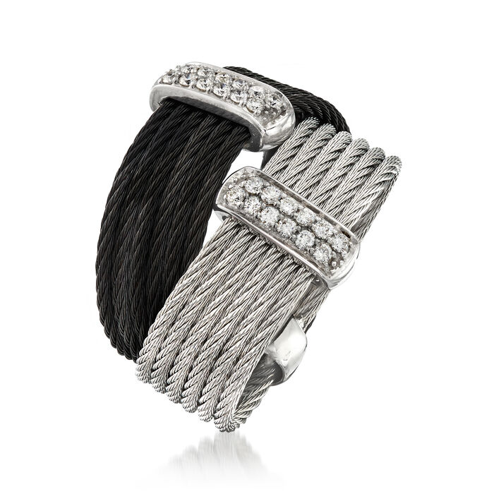 "ALOR ""Noir"" Collection .20 ct. t.w. Diamond Two-Tone Stainless Steel Cable Ring in 18kt White Gold"