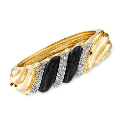 C. 1980 Vintage Onyx and 1.10 ct. t.w. Diamond Shrimp Bangle Bracelet in 14kt Yellow Gold