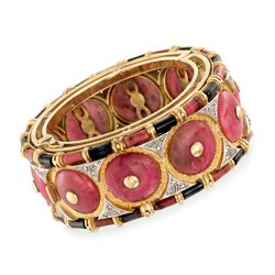 C. 1980 Vintage Pink and Black Nephrite and .25 ct. t.w. Diamond Bangle Bracelet in 18kt Yellow Gold, , default