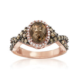 C. 2000 Vintage 1.40 Carat Smoky Quartz and .75 ct. t.w. Brown and White Diamond Ring in 14kt Rose Gold, , default