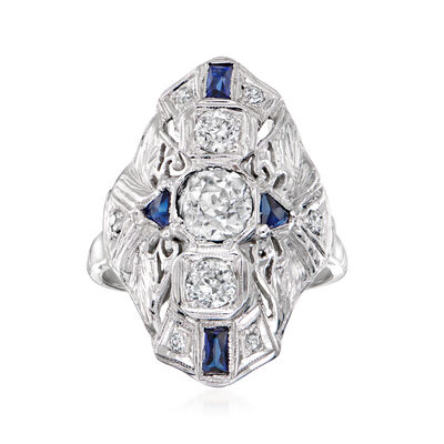 C. 1980 Vintage .90 ct. t.w. Diamond and .40 ct. t.w. Synthetic Sapphire Dinner Ring in 14kt White Gold