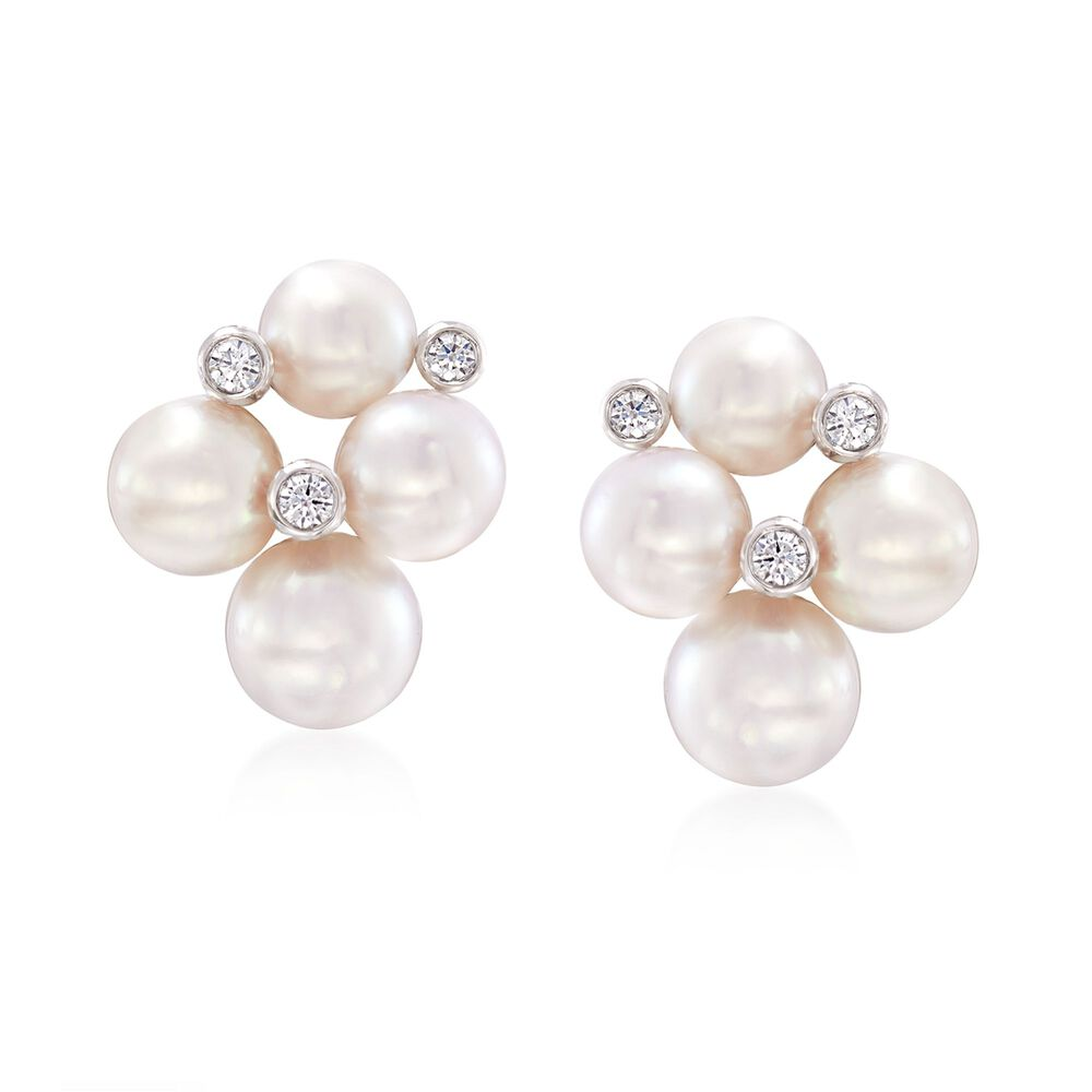 c11e4e6f8 Mikimoto Bubbles 4.75-6mm A+ Akoya Pearl Earrings with Diamond Accents in 18 -Karat