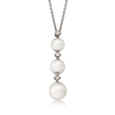 Mikimoto 5.5-7mm A+ Akoya Pearl Necklace with Diamond Accents in 18kt White Gold, , default