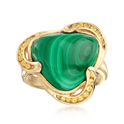 C. 1990 Vintage Malachite and .25 ct. t.w. Citrine Ring in 14kt Yellow Gold, , default