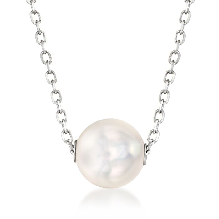 "Mikimoto 8mm A+ Akoya Pearl Necklace in 18-Karat White Gold. 16"", , default"
