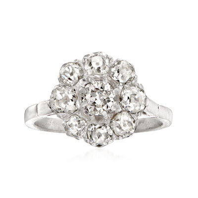 C. 1940 Vintage 1.90 ct. t.w. Diamond Floral Cluster Ring in Platinum