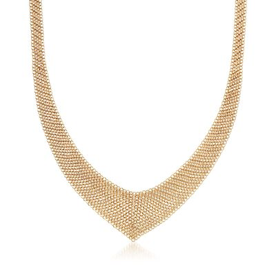 "C. 2000 Vintage 18kt Yellow Gold Tiffany Jewelry ""Elsa Peretti"" Mesh V-Necklace"
