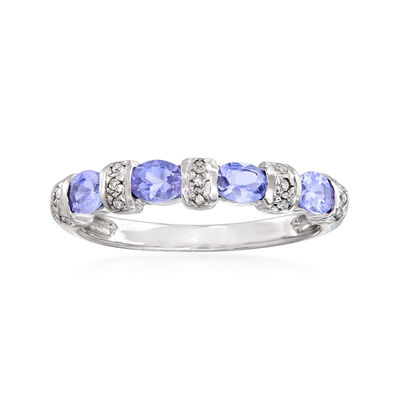 C. 1990 Vintage .80 ct. t.w. Tanzanite Ring with Diamond Accents in 14kt White Gold
