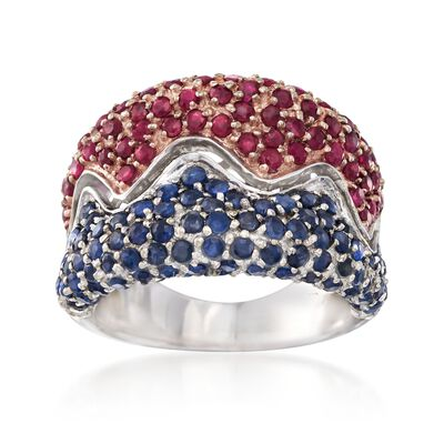 C. 1980 Vintage 2.60 ct. t.w. Ruby and Sapphire Ring in 14kt White Gold, , default