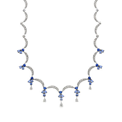 C. 1990 Vintage Stefan Hafner 5.65 ct. t.w. Sapphire and 4.45 ct. t.w. Diamond Collar Necklace in 14kt White Gold, , default
