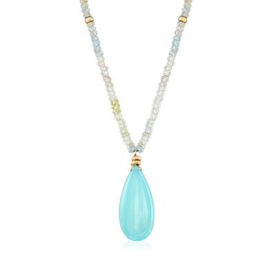 C. 1980 Vintage 27x12mm Chalcedony and Blue Topaz Bead Necklace in 14kt Yellow Gold, , default