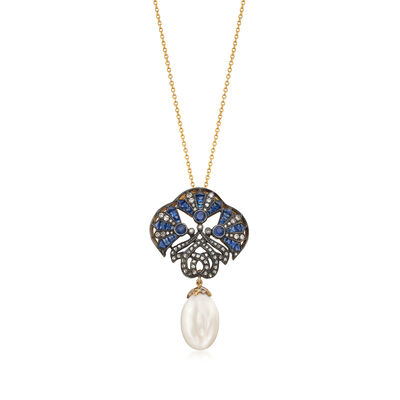 C. 1950 Vintage Cultured Pearl and 3.13 ct. t.w. Multi-Stone Necklace in Two-Tone Sterling, , default