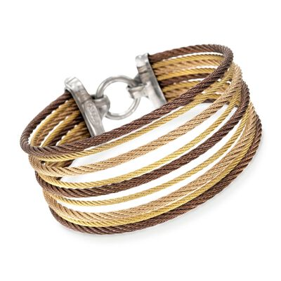 "ALOR ""Classique"" Tri-Colored Stainless Steel Multi-Cable Bracelet with 18kt Yellow Gold, , default"