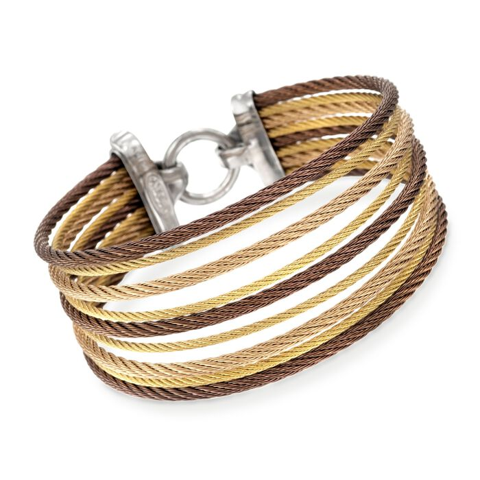 "ALOR Classique Tri-Tone Stainless Steel Multi-Cable Bracelet with 18-Karat Yellow Gold. 7"", , default"