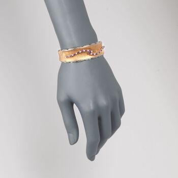 """C. 1960 Vintage 1.05 ct. t.w. Ruby and .85 ct. t.w. Diamond Bangle Bracelet in 18kt Two-Tone Gold. 7"""", , default"""