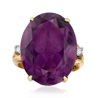 C. 1960 Vintage 20.75 Carat Amethyst and .15 ct. t.w. Diamond Ring in 14kt Yellow Gold, , default