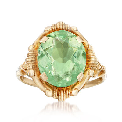 C. 1960 Vintage Green Glass Ring in 10kt Yellow Gold, , default
