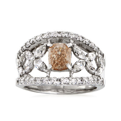 C. 1980 Vintage 2.17 ct. t.w. Brown and White Diamond Open-Space Flower Ring in Platinum