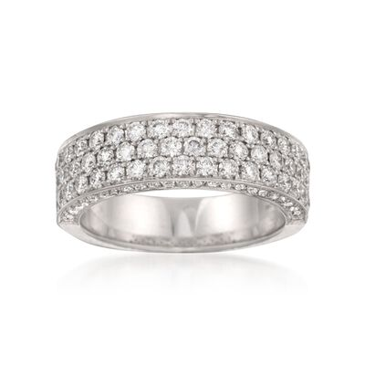 Henri Daussi 1.40 ct. t.w. Diamond Wedding Ring with Pave Sides in 14kt White Gold, , default