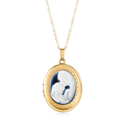 C. 1980 Vintage 20x15mm Blue Agate Mother and Child Cameo Locket Necklace in 14kt Yellow Gold, , default