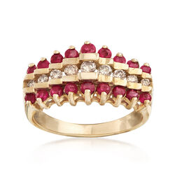 C. 1980 Vintage 1.10 ct. t.w. Ruby and .30 ct. t.w. Diamond Row Ring in 10kt Yellow Gold, , default