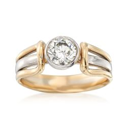 C. 1990 Vintage .85 Carat Diamond Ring in 14kt Two-Tone Gold, , default