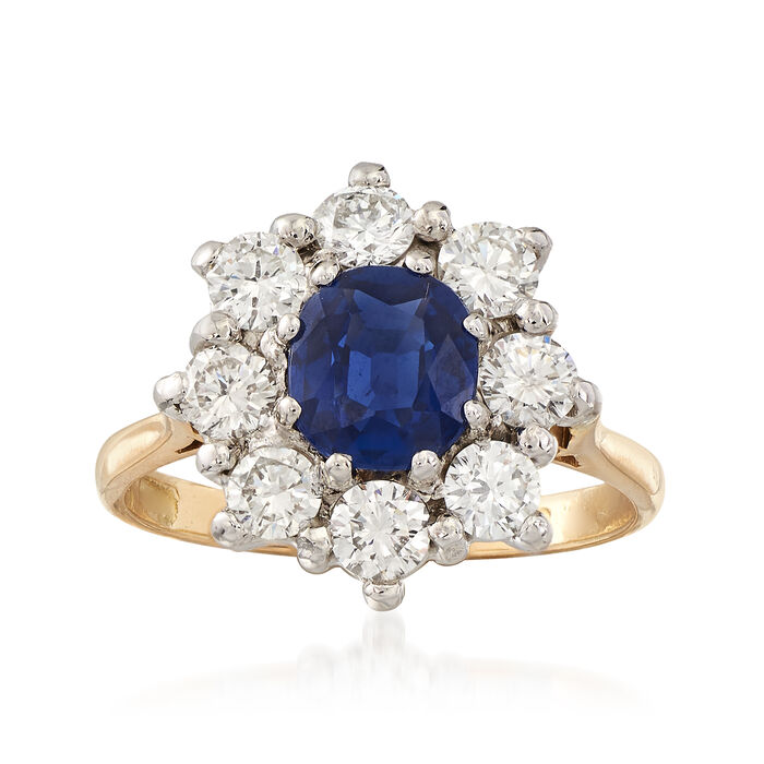 C. 1980 Vintage 1.17 Carat Sapphire and 1.00 ct. t.w. Diamond Ring in 18kt White and Yellow Gold