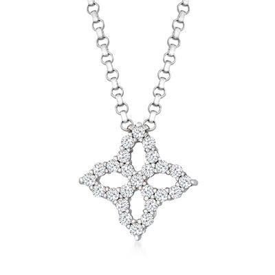 "Roberto Coin ""Princess Flower"" .16 ct. t.w. Diamond Flower Necklace in 18kt White Gold"