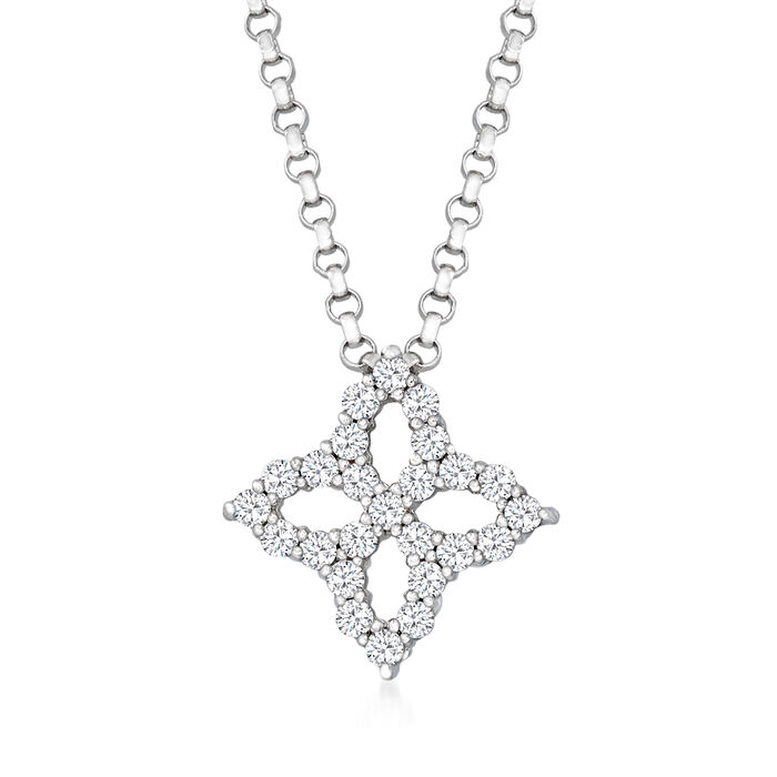 """Roberto Coin """"Princess Flower"""" .16 ct. t.w. Diamond Flower Necklace in 18kt White Gold"""