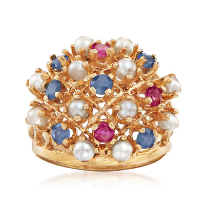 C. 1980 Vintage 3mm Cultured Pearl Cluster Ring with .45 ct. t.w. Sapphires and Rubies in 14kt Yellow Gold