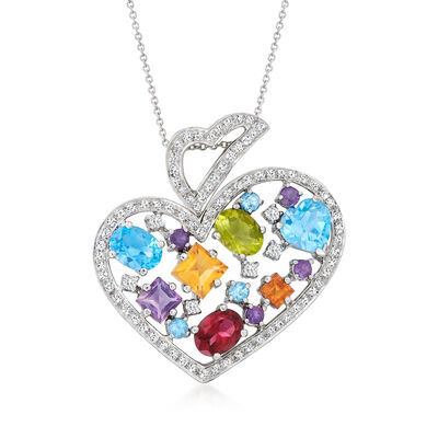 C. 1990 Vintage 9.20 ct. t.w. Multi-Gemstone and 1.10 ct. t.w. Diamond Abstract Heart Pendant Necklace in 18kt White Gold