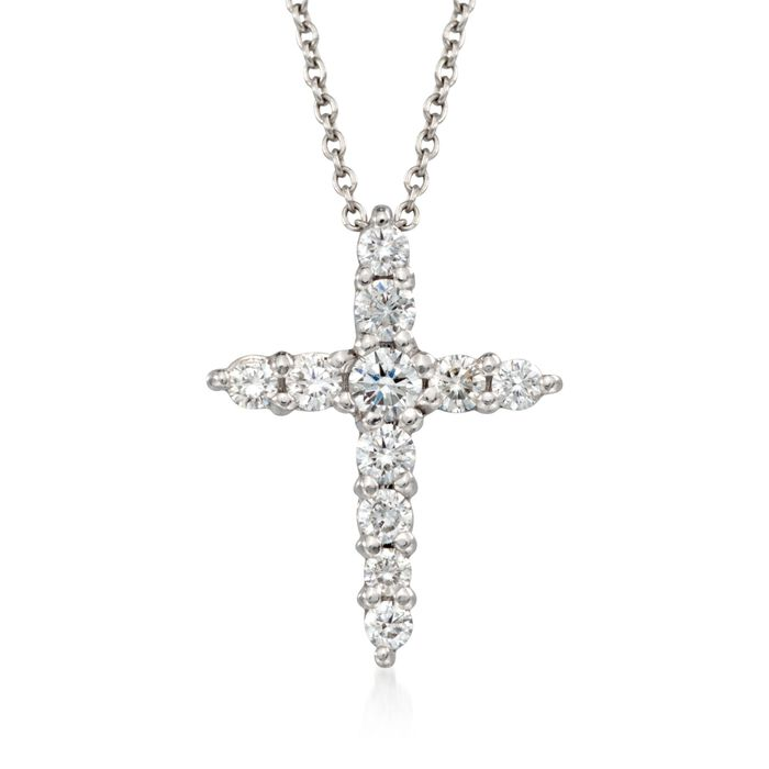 Roberto Coin .39 Carat Total Weight Diamond Cross Necklace in 18-Karat White Gold. 16""