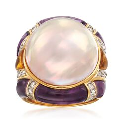 C. 1980 Vintage 18mm Mabe Pearl and Carved Multi-Stone Ring With .75 ct. t.w. Diamonds in 18kt Gold, , default
