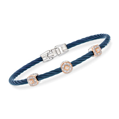 "ALOR ""Shades of Alor"" .14 ct. t.w. Diamond Blue Carnation Cable Station Bracelet in Stainless Steel and 18kt White and Rose Gold"