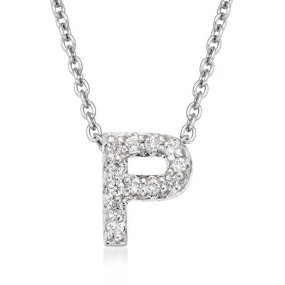 "Roberto Coin ""Tiny Treasures"" Diamond Accent Initial ""P"" Necklace in 18kt White Gold, , default"