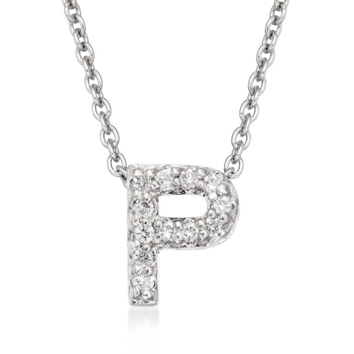 "Roberto Coin Tiny Treasures Diamond P Necklace in 18-Karat White Gold. 16"", , default"