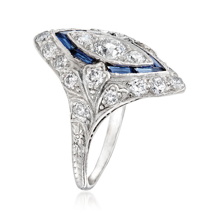 C. 1950 Vintage 1.15 ct. t.w. Diamond and .50 ct. t.w. Simulated Sapphire Ring in Platinum