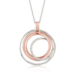 Simon G. .12 ct. t.w. Diamond Multi-Circle Pendant Necklace in 18kt Two-Tone Gold, , default