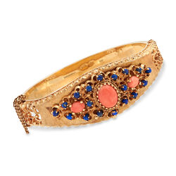 C. 1970 Vintage Pink Coral and Blue Lapis Bangle Bracelet in 14kt Yellow Gold, , default