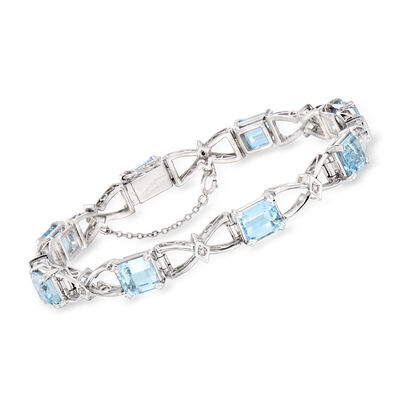 C. 1970 Vintage 11.50 ct. t.w. Aquamarine and .15 ct. t.w. Diamond Bow-Link Bracelet in 14kt White Gold, , default