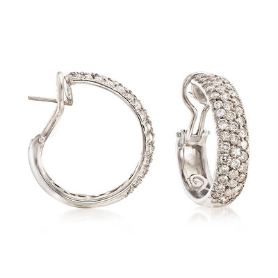 C. 1990 Vintage 4.50 ct. t.w. Diamond Hoop Earrings in 18kt White Gold