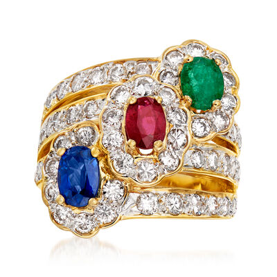 C. 1980 Vintage 2.47 ct. t.w. Diamond and 2.05 ct. t.w. Multi-Gemstone Cocktail Ring in 18kt Yellow Gold
